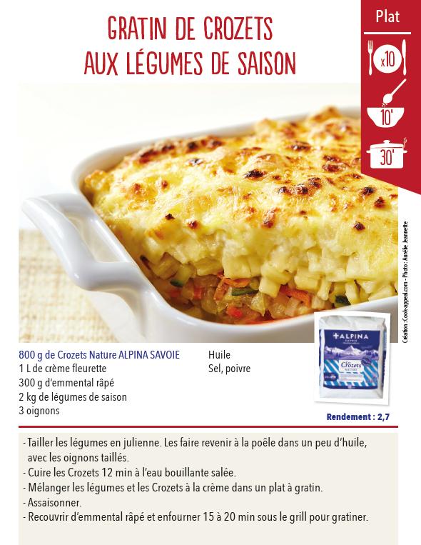 Recette De Gratin De Crozets Aux Legumes De Saison Pour Les